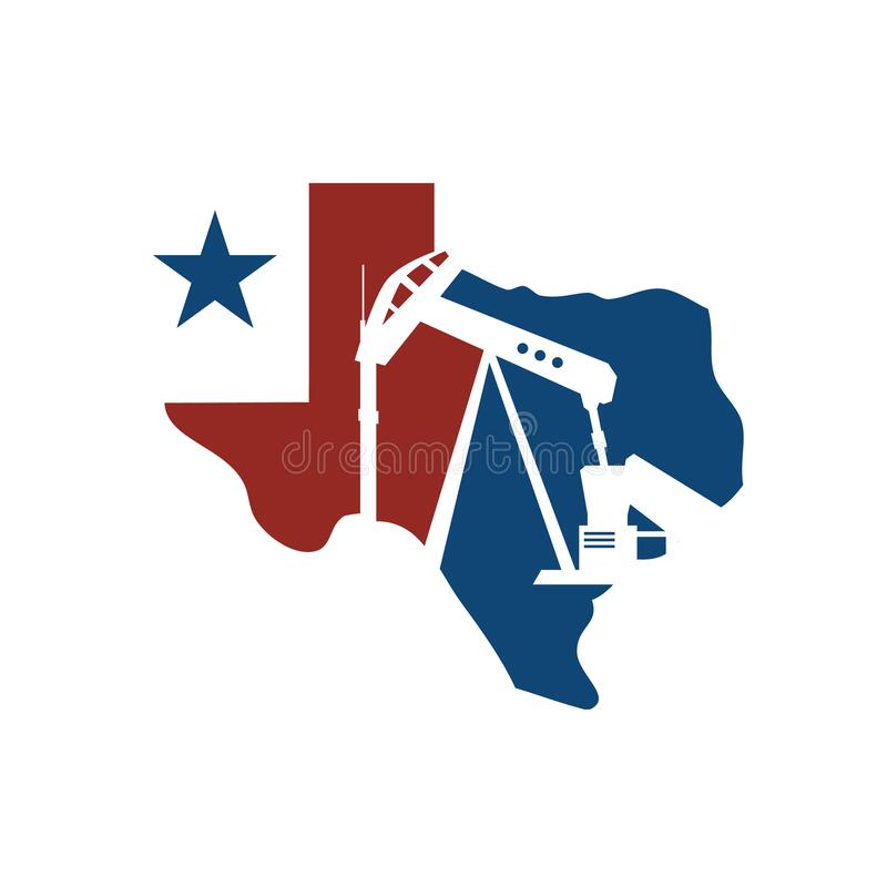 Vector map of texas oil rig logo design illustration. Exploration, equipment, pipeline, crude, supply, jack, graphic, america, country, power, isolated, simple vector illustration