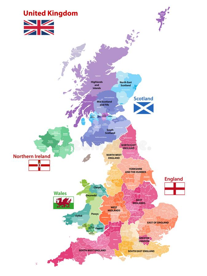 Vector map of United Kingdom colored by countries, counties and regions royalty free illustration