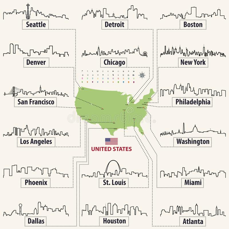 Vector map of United States of America with largest cities` skylines outlines royalty free illustration