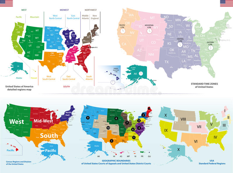 Map Of US Regions. Maps USA Stock Vector - Illustration of ...