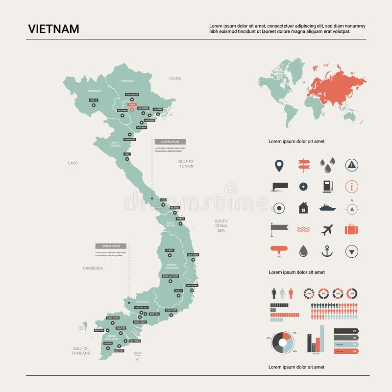 Vector map of Vietnam.  High detailed country map with division, cities and capital Hanoi. Political map,  world map, infographic vector illustration
