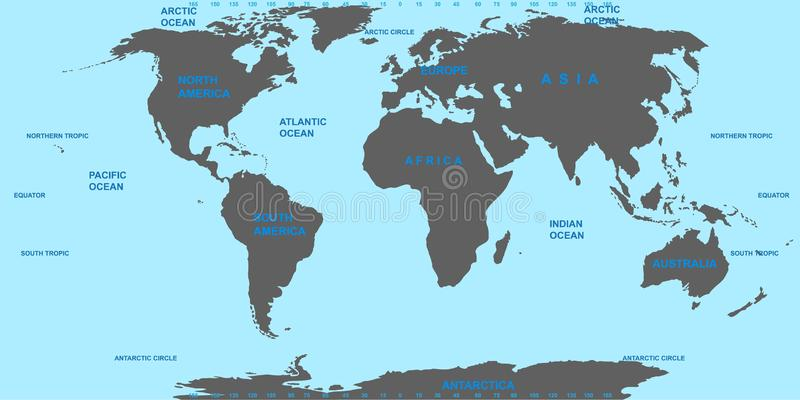 Vector Map Of The World  Oceans And Continents On A Flat