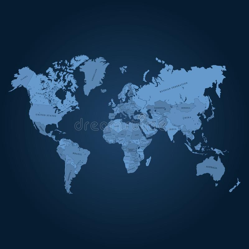 World map vector illustration. Quality map for cutting or engraving stock illustration