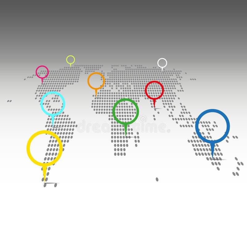 Vector - mapa del mundo con las etiquetas stock de ilustración