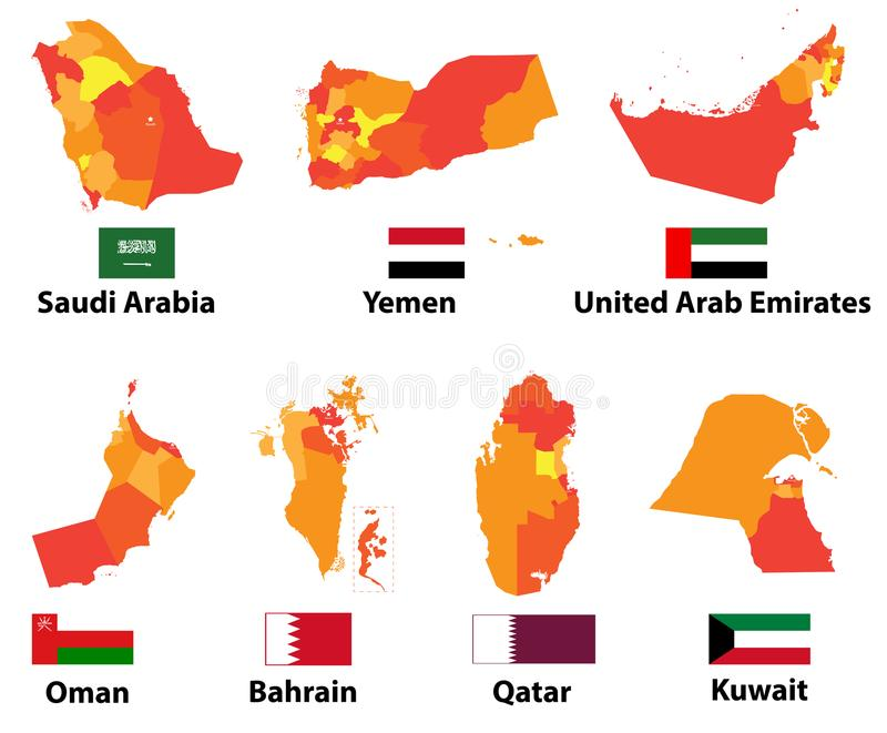 download vector maps and flags arabic countries of with administrative divisions regions borders stock vector