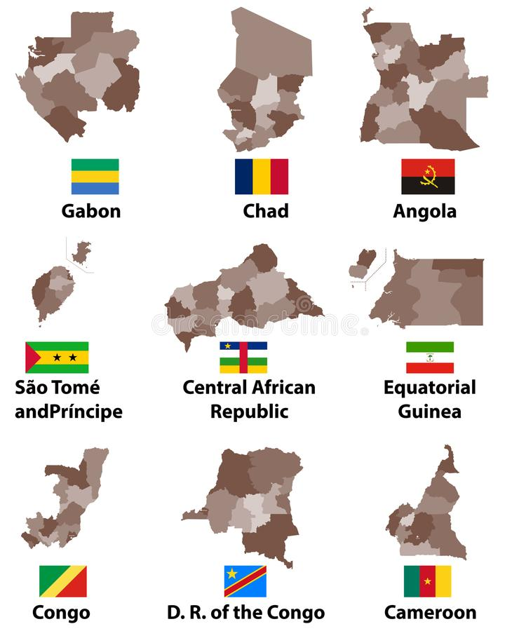 Vector Maps And Flags Of Central Africa Countries With