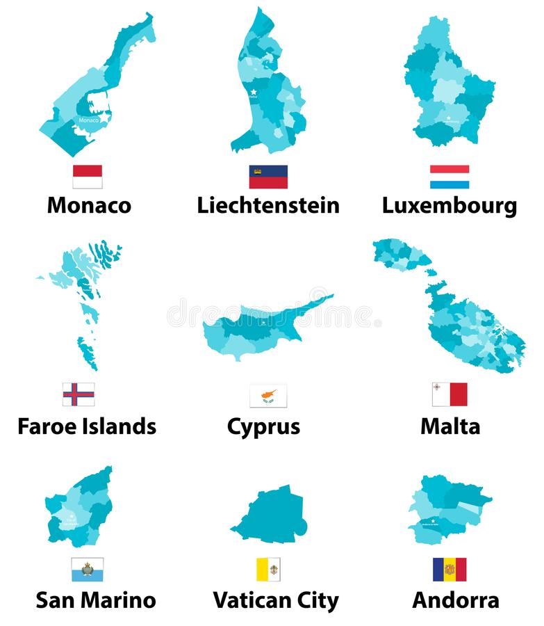 Vector maps and flags of Europe countries with administrative divisions regions borders vector illustration