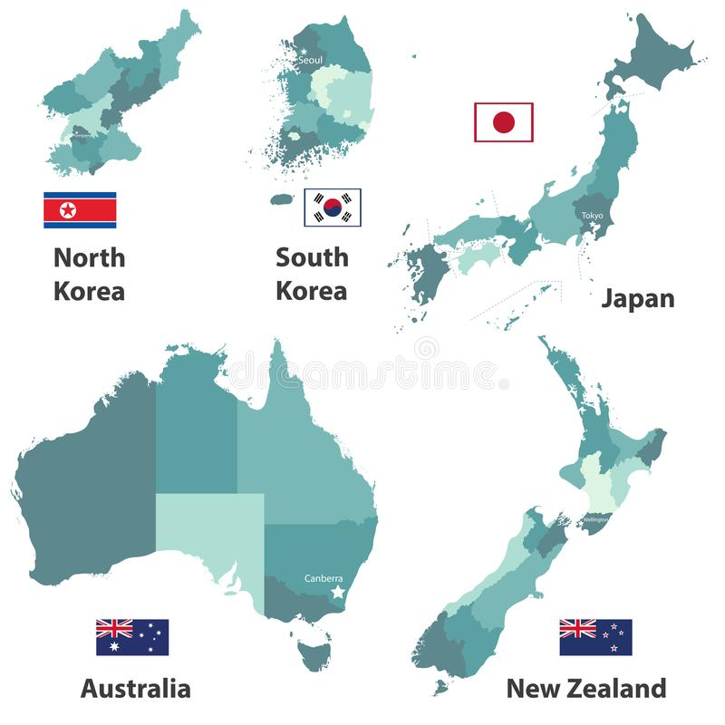 Vector maps and flags of Japan, North Korea, South Korea, Australia and New Zealand with administrative divisions regions borders vector illustration