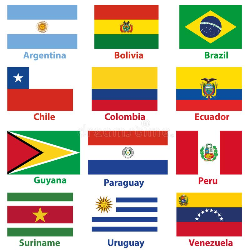Vector maps and flags of South American countries vector illustration