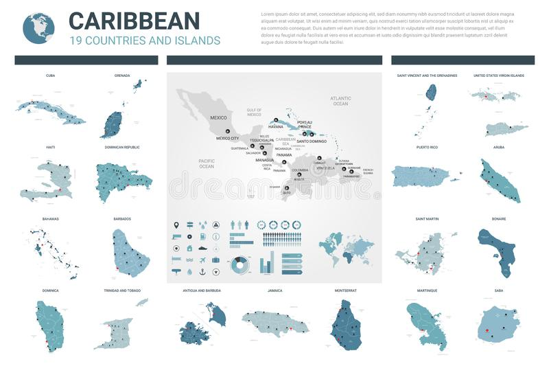 Vector maps set.  High detailed 19 maps of Caribbean countries with administrative division and cities. Political map, map of stock illustration