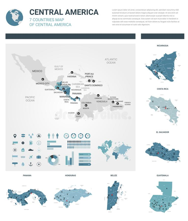 Vector maps set.  High detailed 7 maps of countries in Central America with administrative division and cities. Political map, map royalty free illustration