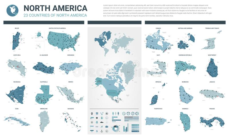 Vector maps set.  High detailed 23 maps of North American countries with administrative division and cities. Political map, map of vector illustration