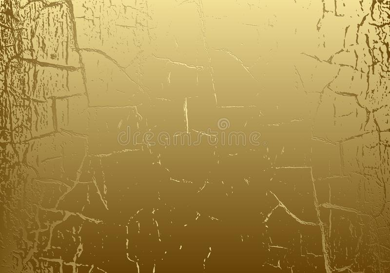Vector marble texture with cracked golden foil. Patina. Gold scratch background. Abstract glamour golden grunge design backdrop stock illustration