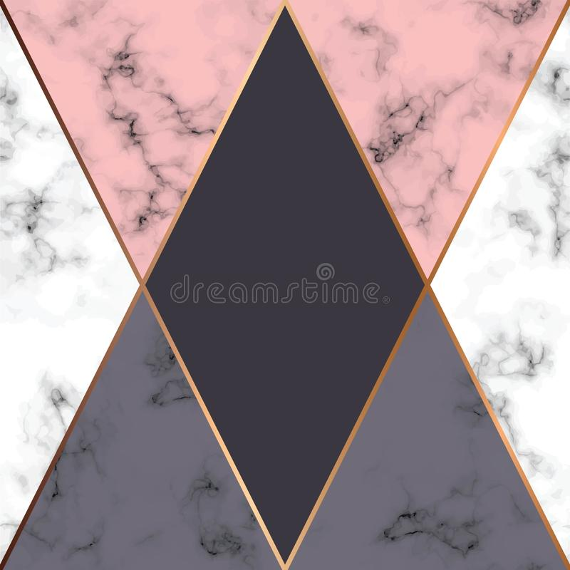 Vector marble texture design with golden geometric lines, black and white marbling surface, modern luxurious background royalty free illustration