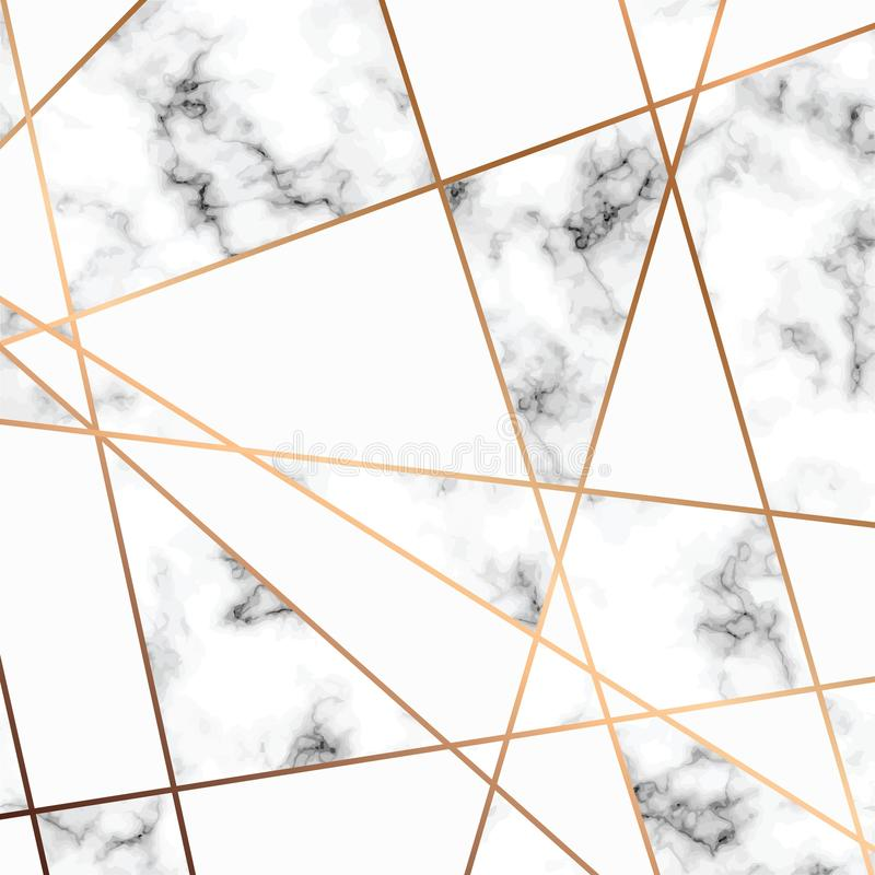 Vector marble texture, seamless pattern design with golden geometric lines, black and white marbling surface, modern luxurious stock illustration