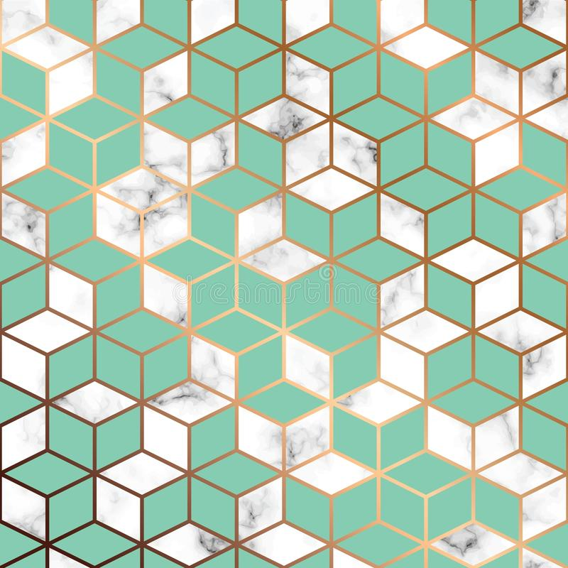 Vector marble texture, seamless pattern design with golden geometric lines and cubes, black and white marbling surface royalty free illustration