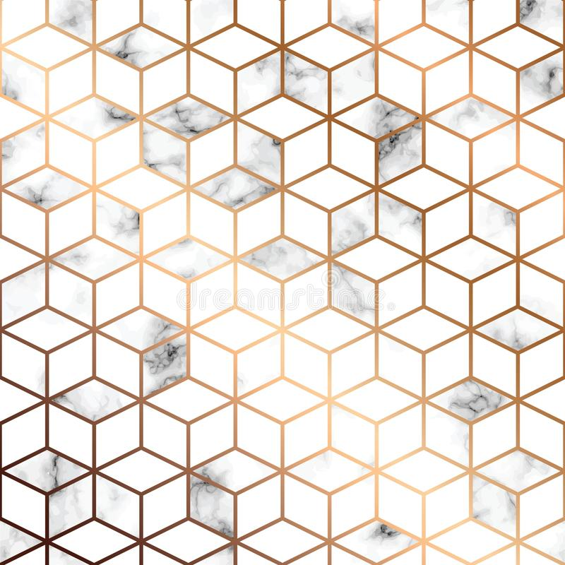 Free Vector Marble Texture, Seamless Pattern Design With Golden Geometric Lines And Cubes, Black And White Marbling Surface Stock Photo - 108910940