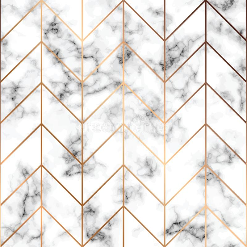 Free Vector Marble Texture, Seamless Pattern Design With Golden Geometric Lines, Black And White Marbling Surface, Modern Luxurious Stock Photo - 103430180