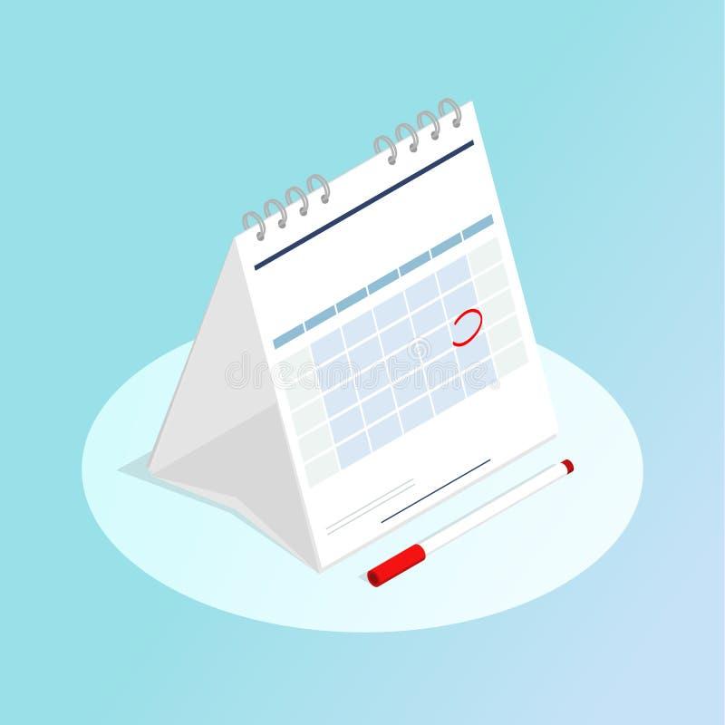 Vector marcado rojo del calendario isométrico libre illustration