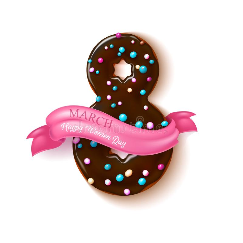 Vector 8 march doughnut women day holiday. 8 march happy women day realistic chocolate doughnut with ribbon card template. Sweet delicious tasty dessert with vector illustration