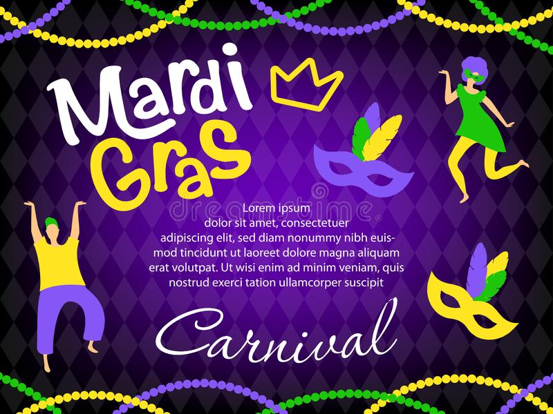Vector mardi gras carnival greeting card royalty free illustration