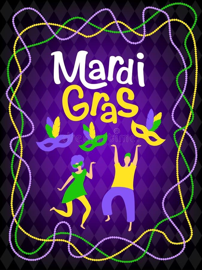 Vector mardi gras carnival greeting card stock illustration