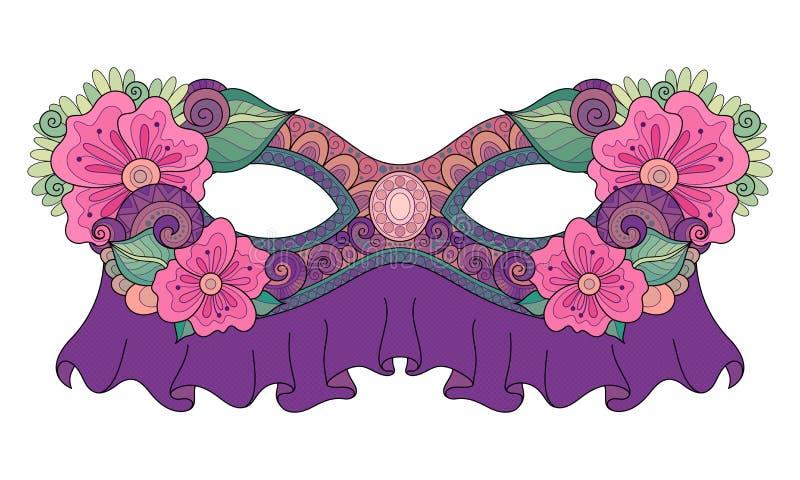 Vector Mardi Gras Carnival Mask coloreado adornado con las flores decorativas stock de ilustración