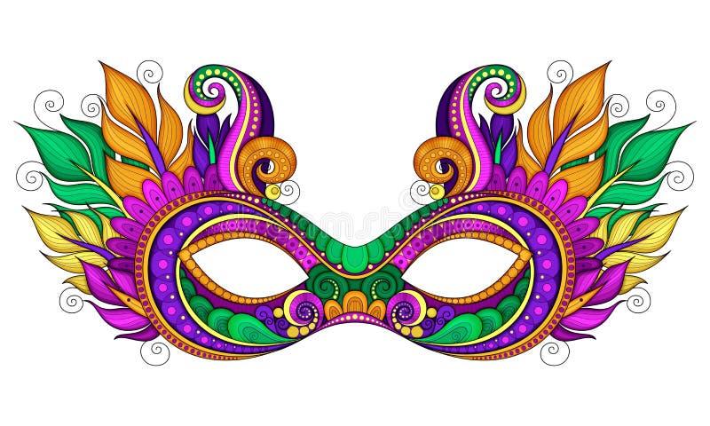 Vector Mardi Gras Carnival Mask coloreado adornado con las plumas decorativas libre illustration
