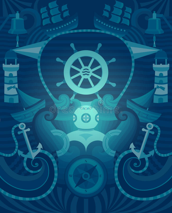 Vector mariene achtergrond stock illustratie