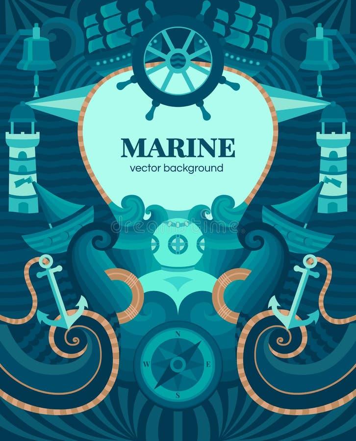 Vector mariene achtergrond vector illustratie