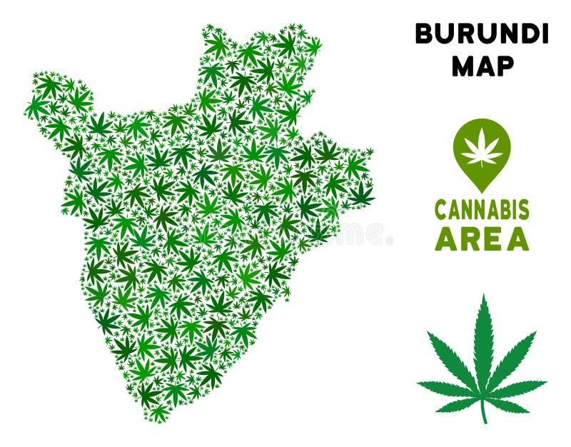 Vector Marijuana Composition Burundi Map vector illustration