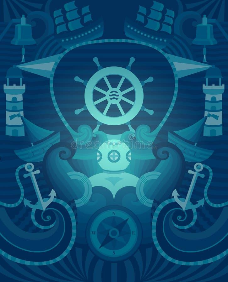 Vector Marine background stock illustration