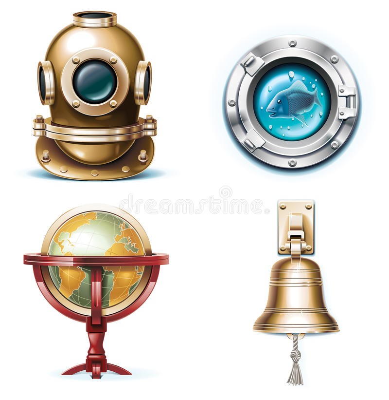 Vector marine travel icons. Part 1 vector illustration