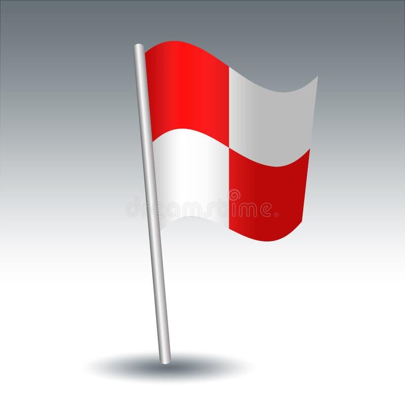 Vector maritiem U van de signaalvlag Eenvormig op gehelde metaal zilveren pool - symbool van u komen gevaar tegen - rood en wit vector illustratie