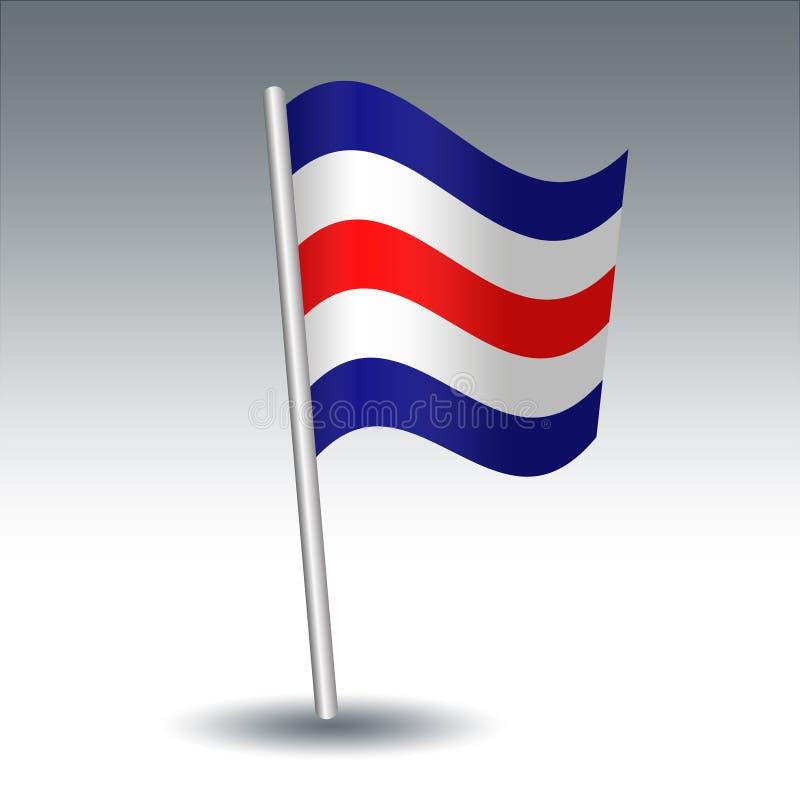 Vector maritieme signaalvlag C Charlie op de blauwe, witte en rode kleur van de gehelde metaal zilveren pool - symbool van Bevest royalty-vrije illustratie