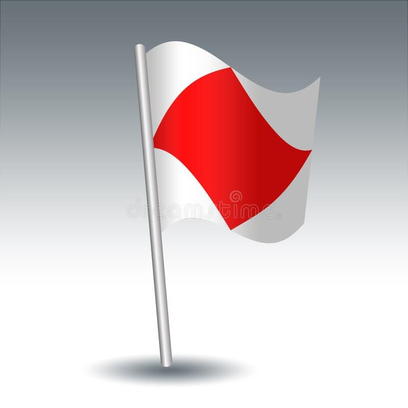 Vector maritieme signaalvlag F Foxtrot op gehelde metaal zilveren pool - symbool van ben ik gehandicapt, communiceer met me - wit stock illustratie