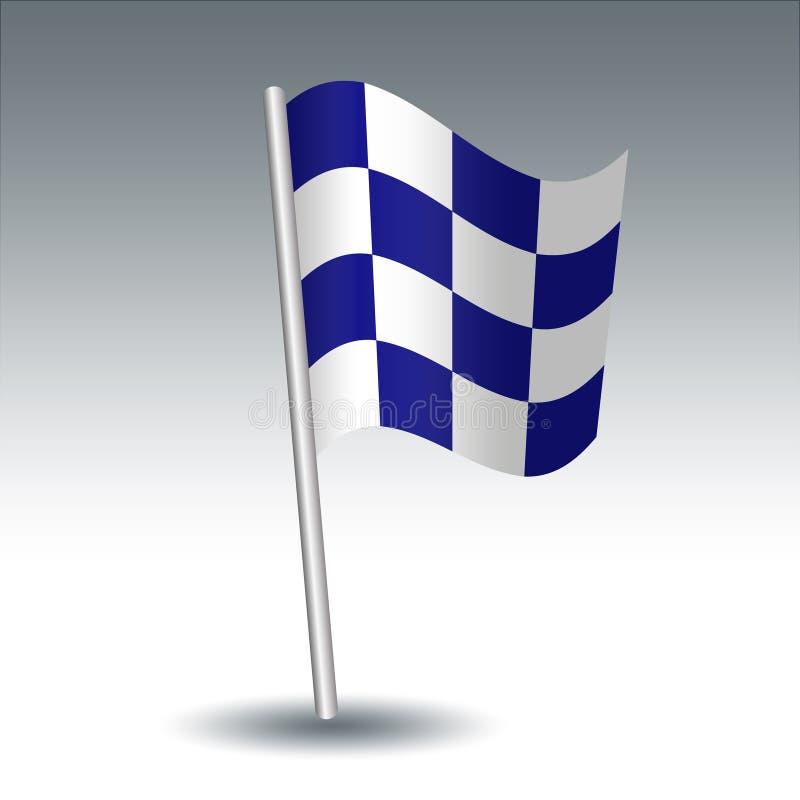 Vector maritieme signaalvlag N November op de blauwe en witte kleur van de gehelde metaal zilveren pool - symbool van Negatief - royalty-vrije illustratie