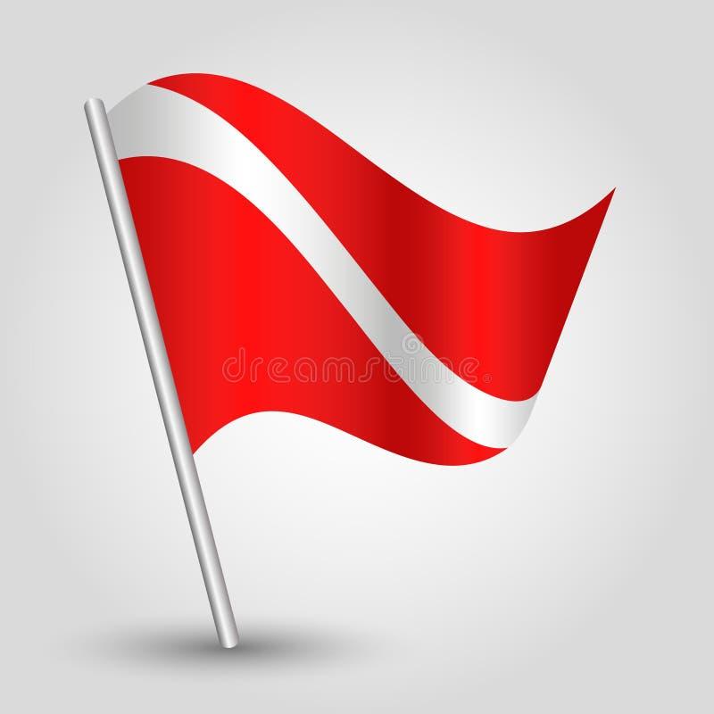 Vector maritieme signaalvlag op gehelde metaal zilveren pool - symbool van het duiken - rode en witte kleur stock illustratie