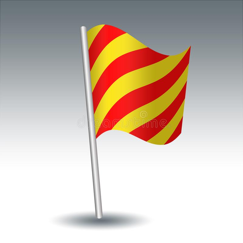 Vector maritieme signaalvlag Y Yankee op gehelde metaal zilveren pool - symbool van sleep ik mijn anker - gele en rode colo royalty-vrije illustratie