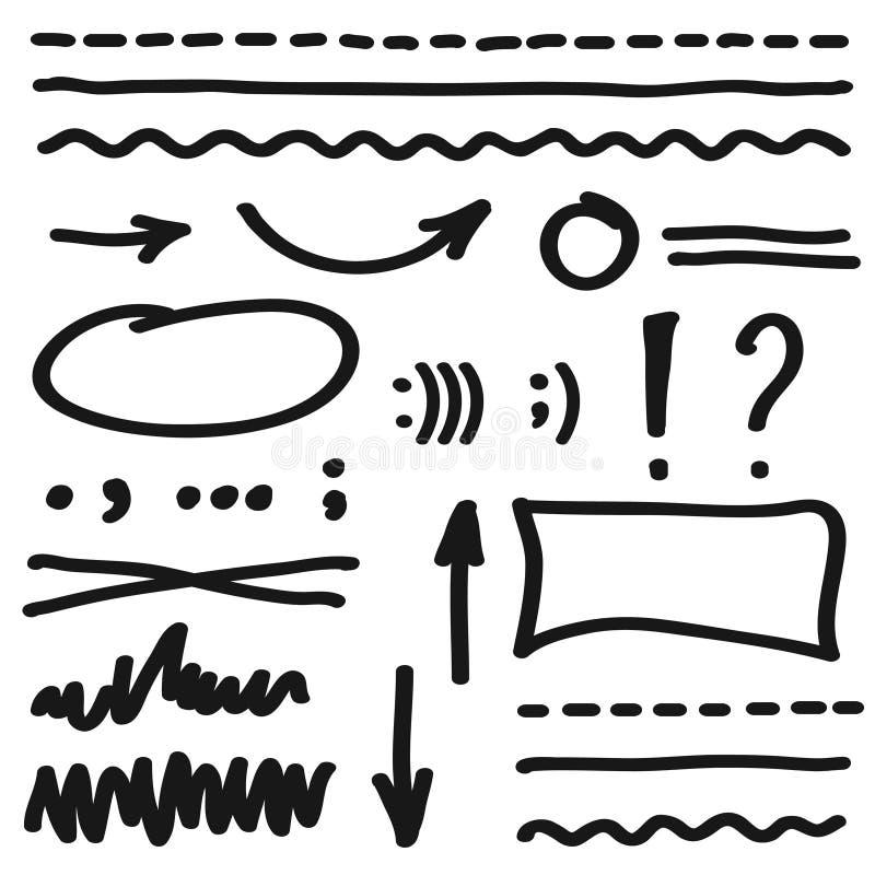 Vector marker elements, hand drawing stock illustration