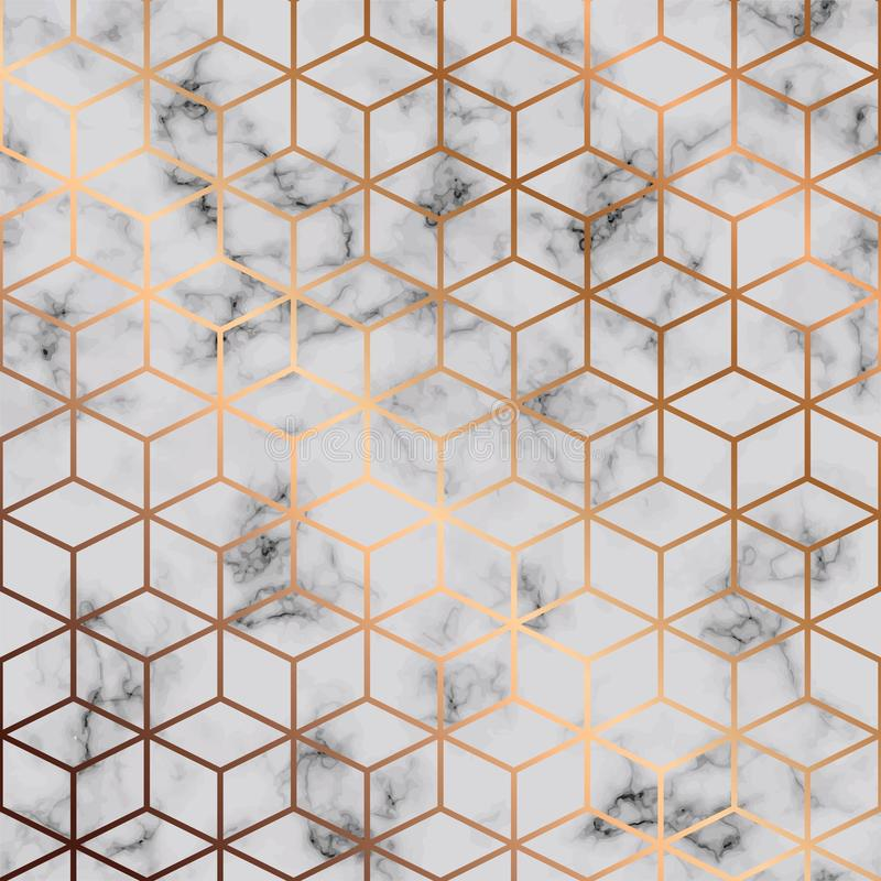 Vector Marmorbeschaffenheit, nahtloses Musterdesign mit geometrischem Muster der goldenen Würfel, marmornde Schwarzweiss-Oberfläc stock abbildung