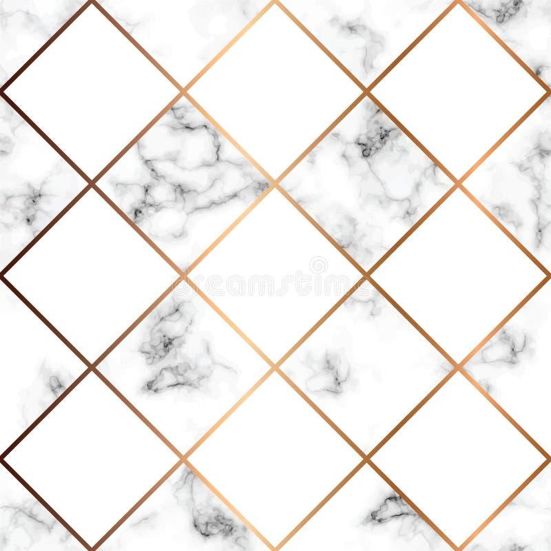 Vector Marmorbeschaffenheit, nahtloses Musterdesign mit weißen Quadraten vektor abbildung