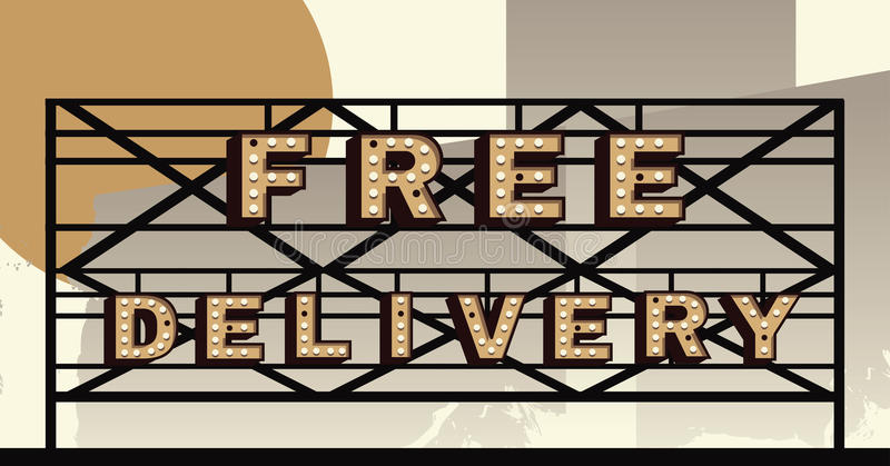 Vector marquee letter Free Delivery sign. Free Delivery sign in the style of an illustrated marquee royalty free illustration