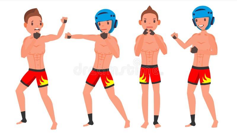 Vector masculino del jugador del Muttahida Majlis-E-Amal Luchando en el anillo, jaula, arena El jugar en diversas actitudes Atlet ilustración del vector