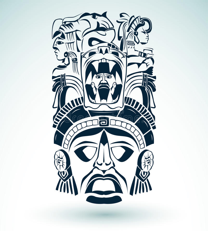 Vector Mask, Mexican Mayan - Aztec Motifs - Symbol Stock Photography