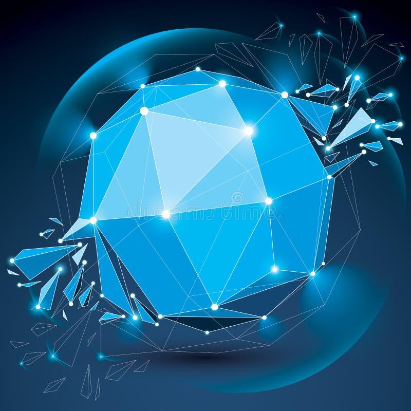 Vector Mass-wireframe funkelnden blauen Gegenstand mit Strahlen lizenzfreie abbildung