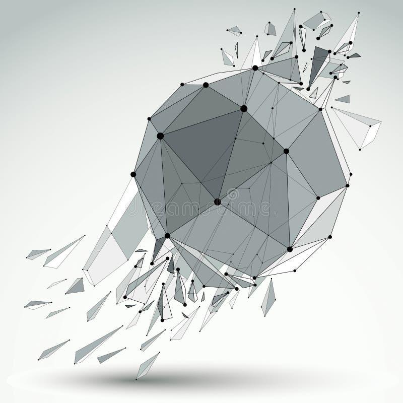 Vector Mass-wireframe Gegenstand, kugelförmige demolierte Form stock abbildung