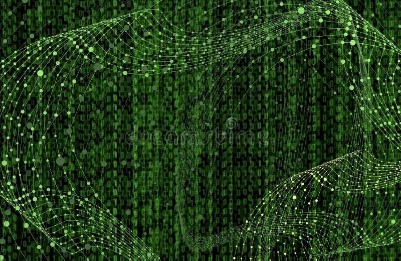 Vector Matrix Data Background, Bright Green Color, Binary Code Scientific Technology Backdrop. stock illustration