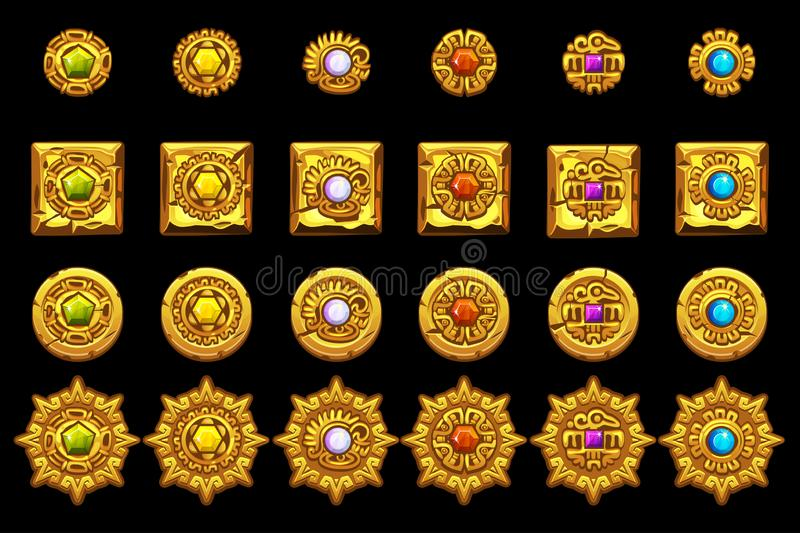 Vector Maya icons. American aztec, mayan culture golden symbols. royalty free illustration