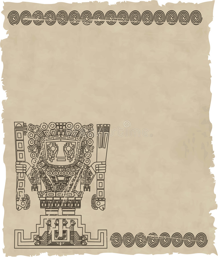 Vector mayan and inca tribal symbols on old paper royalty free illustration